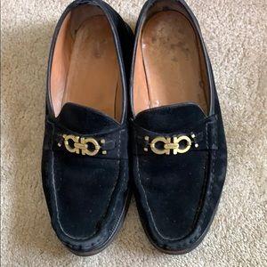 Black Suede Ferragamo MENS loafer